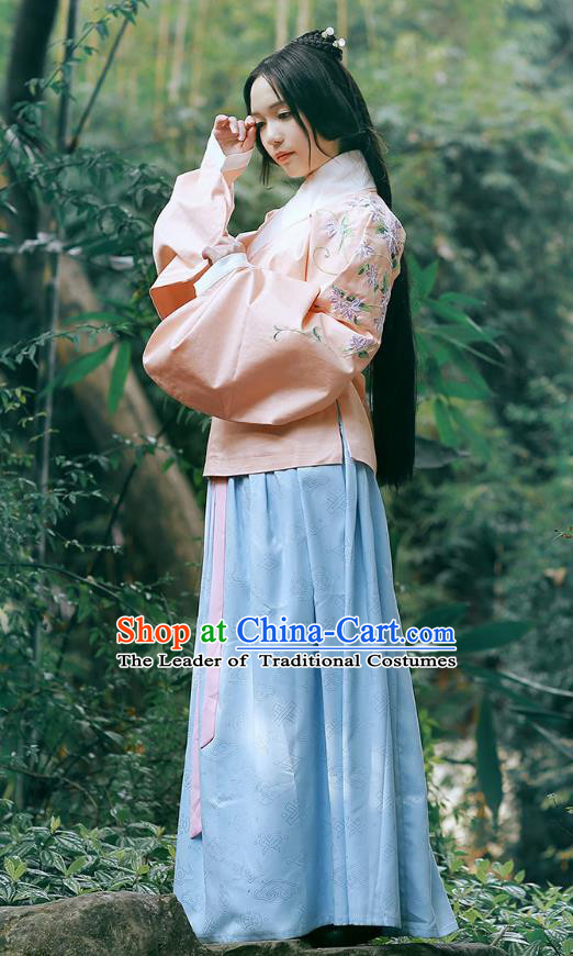 Traditional Chinese Ancient Young Lady Hanfu Costume, Asian China Ming Dynasty Princess Embroidered Pink Blouse and Skirts for Women