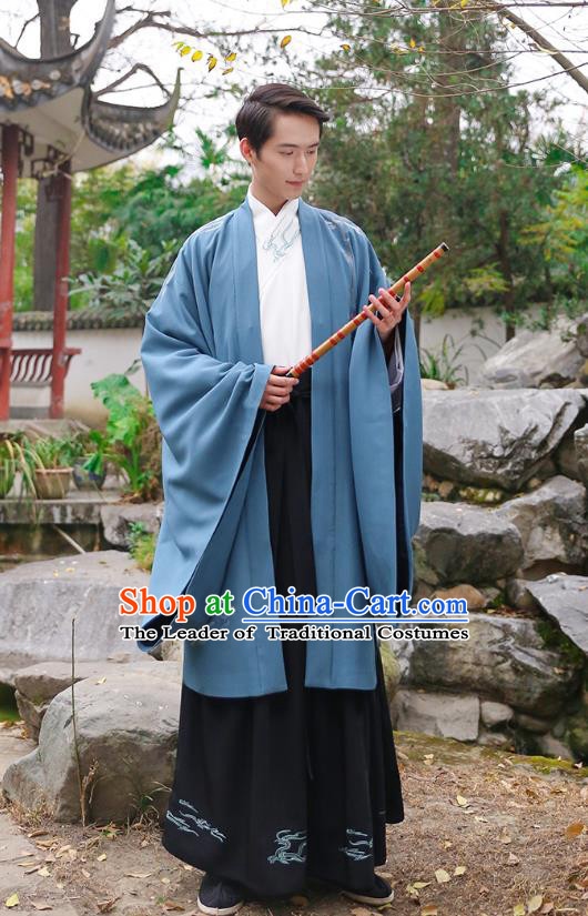 Traditional Chinese Ancient Hanfu Swordsman Costume, Asian China Han Dynasty Imperial Bodyguard Embroidered Blue Cloak for Men
