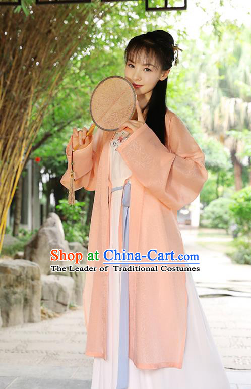Traditional Chinese Ancient Hanfu Princess Costume, Asian China Song Dynasty Palace Lady Embroidered Orange Cardigan for Women