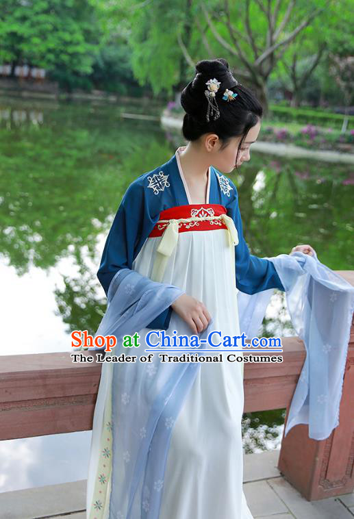 Traditional Chinese Ancient Hanfu Princess Costume, Asian China Tang Dynasty Palace Lady Embroidered Blouse and White Slip Skirts for Women