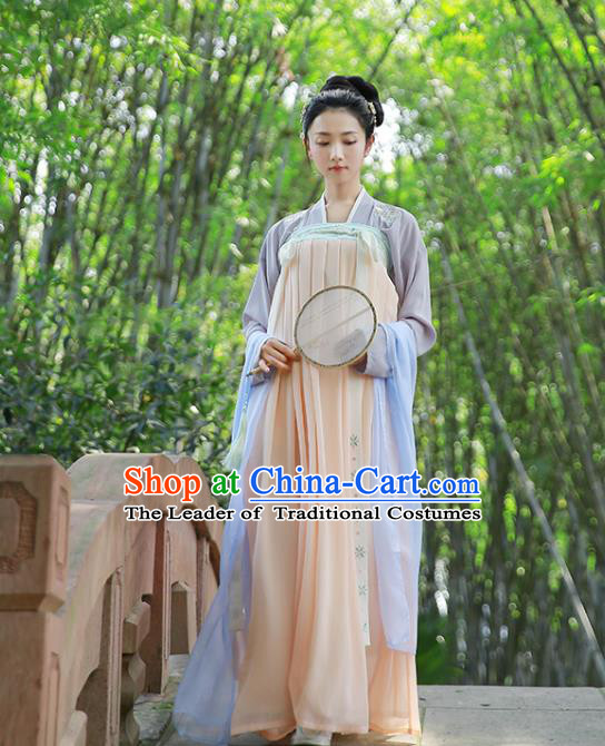 Traditional Chinese Ancient Hanfu Princess Costume, Asian China Tang Dynasty Palace Lady Embroidered Blouse and Pink Slip Skirts for Women