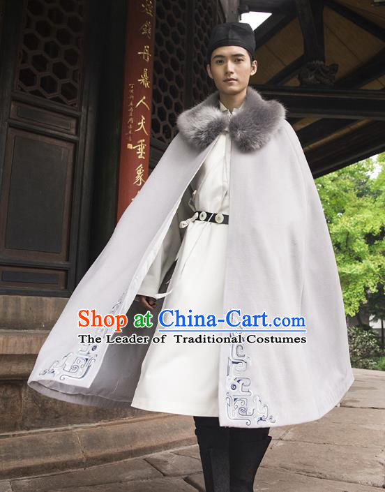 Traditional Chinese Ancient Hanfu Swordsman Costume Hooded Mantle, Asian China Han Dynasty Imperial Bodyguard Embroidered Grey Cloak for Men
