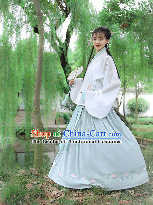 Traditional Chinese Ancient Hanfu Princess Costume White Blouse and Skirts, Asian China Ming Dynasty Palace Lady Embroidered Clothing for Women