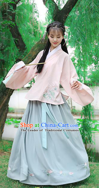 Traditional Chinese Ancient Hanfu Princess Costume Pink Blouse and Skirts, Asian China Ming Dynasty Palace Lady Embroidered Clothing for Women