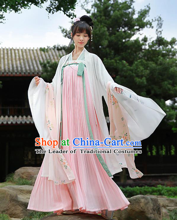 Traditional Chinese Ancient Hanfu Princess Costume White Cardigan, Asian China Tang Dynasty Palace Lady Embroidered Clothing for Women