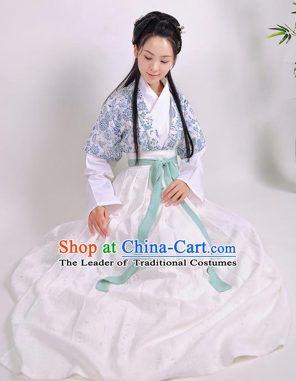 Traditional Chinese Ancient Hanfu Princess Costume Slip Skirts, Asian China Song Dynasty Palace Lady Half-Sleeves Clothing for Women