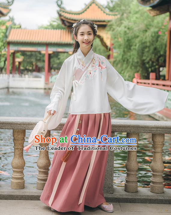 Traditional Chinese Ancient Hanfu Costume Palace Lady Clothing, Asian China Ming Dynasty Embroidered White Blouse and Pink Skirts for Women