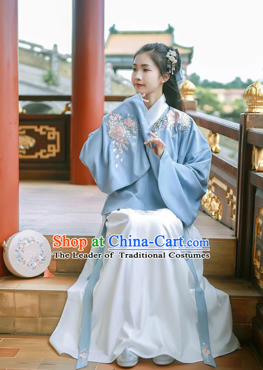 Traditional Chinese Ancient Hanfu Costume Palace Lady Clothing, Asian China Jin Dynasty Embroidered Blue Blouse and White Skirts for Women