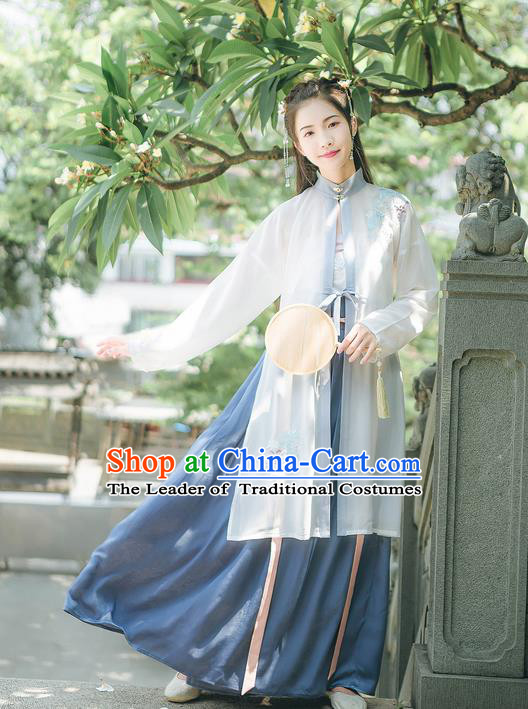 Traditional Chinese Ancient Hanfu Costume Young Lady Clothing, Asian China Song Dynasty Embroidered Clothing for Women