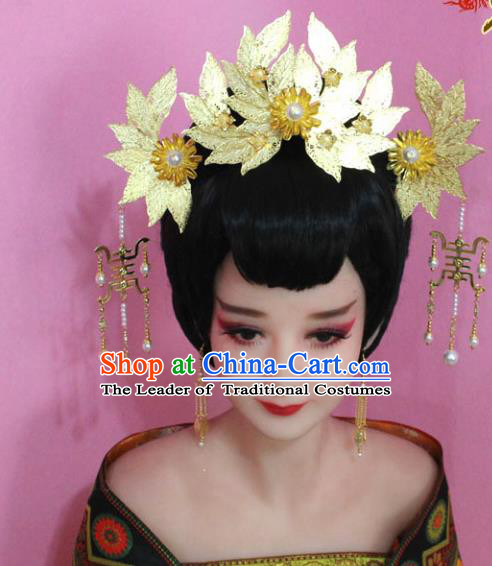 Traditional Handmade Chinese Hair Accessories Palace Lady Golden Lotus Phoenix Coronet Complete Set, Xiuhe Suit Princess Step Shake Hairpins for Women
