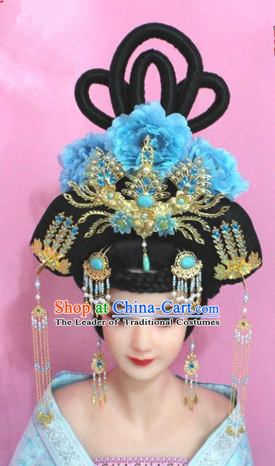 Traditional Handmade Chinese Hair Accessories Palace Lady Empress Phoenix Coronet Headwear, Imperial Concubine Tassel Step Shake Hairpins for Women