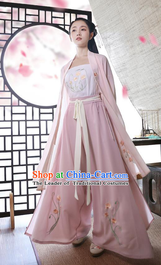 Traditional Chinese Ancient Hanfu Princess Costume, Asian China Song Dynasty Palace Lady Embroidered Blouse and Pants for Women