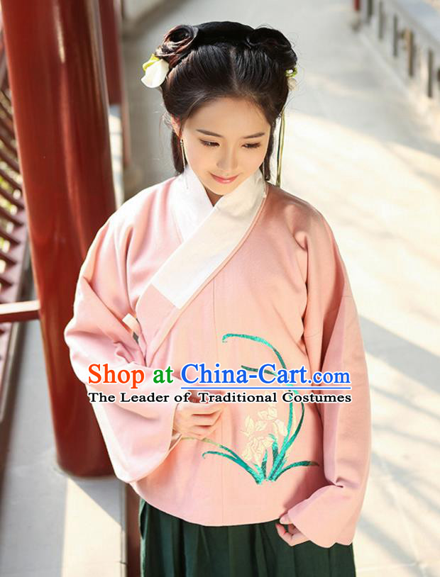 Traditional Chinese Ancient Hanfu Princess Costume Upper Outer Garment, Asian China Ming Dynasty Young Lady Embroidered Orchid Pink Blouse for Women