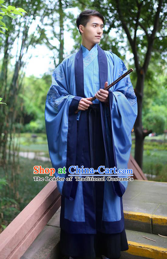 Traditional Chinese Ancient Imperial Bodyguard Costume, Asian China Han Dynasty Swordsman Blue Embroidered Cloak for Men