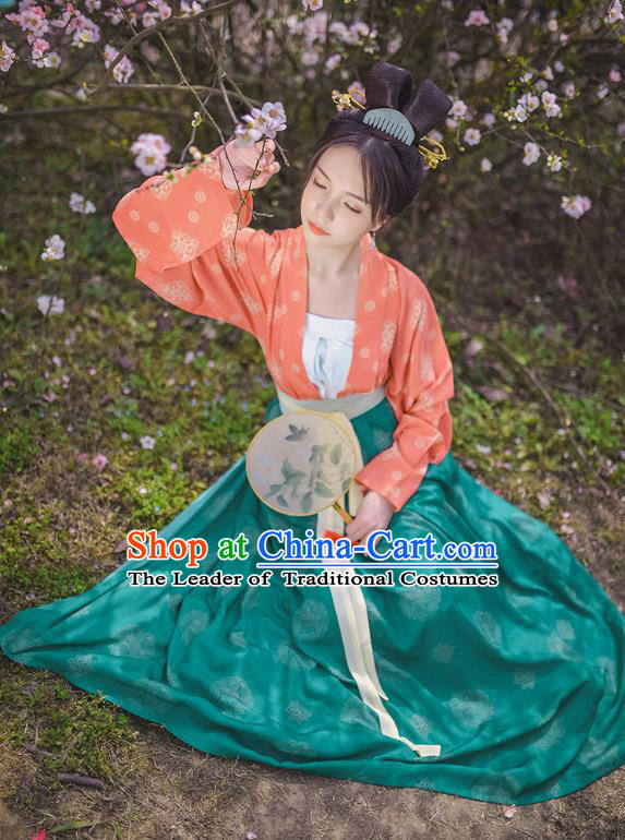 Traditional Chinese Ancient Hanfu Princess Costume Embroidered Green Slip Skirt, Asian China Tang Dynasty Palace Lady Clothing for Women