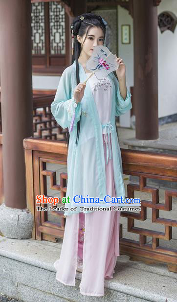 Traditional Chinese Ancient Palace Lady Costume, Asian China Song Dynasty Royal Princess Embroidered Blouse and Pants for Women