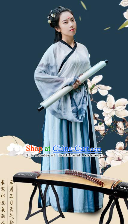 Traditional Chinese Ancient Palace Lady Costume, Asian China Jin Dynasty Princess Embroidered Clothing for Women