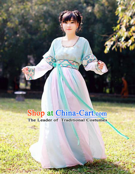 Traditional Chinese Ancient Palace Lady Costume, Asian China Tang Dynasty Princess Embroidered Half-Sleeves Dress Clothing for Women