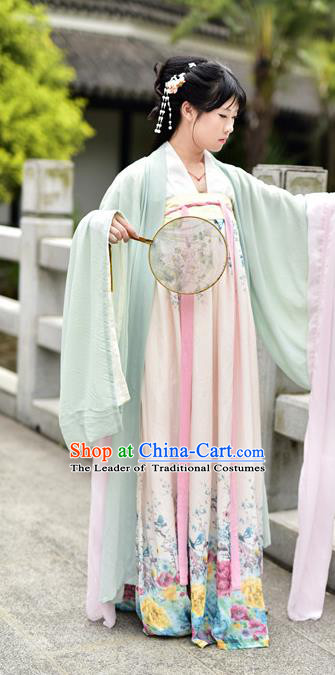 Traditional Chinese Ancient Palace Lady Costume, Asian China Tang Dynasty Princess Embroidered Wide Sleeve Light Green Cardigan for Women