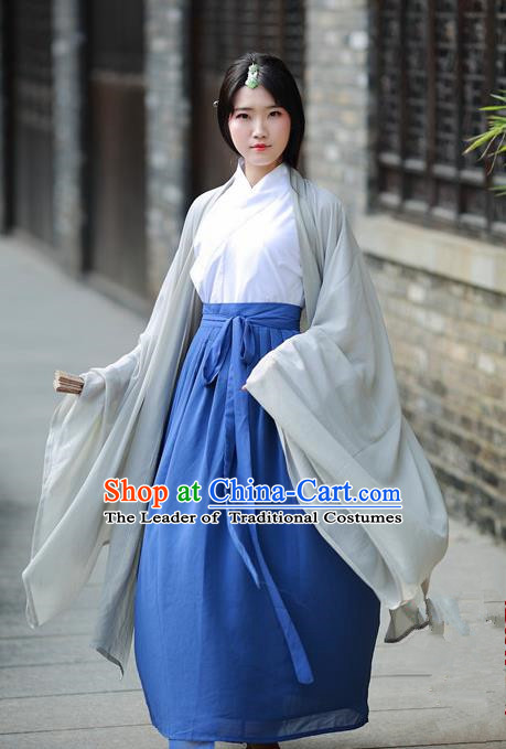 Traditional Chinese Ancient Palace Lady Costume, Asian China Tang Dynasty Princess Embroidered Wide Sleeve Grey Cardigan for Women