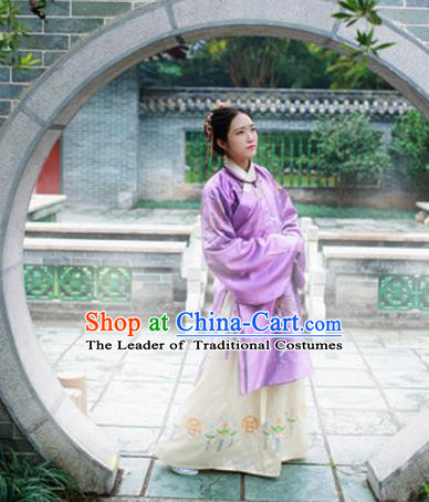 Traditional Chinese Ancient Palace Lady Costume, Asian China Ming Dynasty Princess Embroidered Purple Blouse for Women