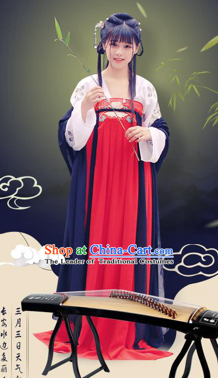 Traditional Chinese Ancient Palace Lady Costume, Asian China Tang Dynasty Princess Embroidered Slip Skirt for Women