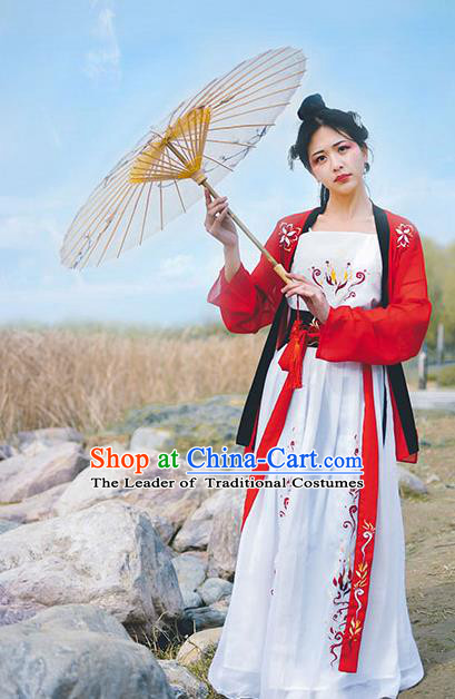 Traditional Chinese Ancient Palace Lady Costume, Asian China Tang Dynasty Imperial Concubine Red Clothing for Women