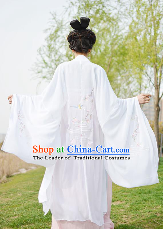 Traditional Chinese Ancient Palace Lady Costume White Cardigan, Asian China Tang Dynasty Imperial Concubine Embroidered Clothing for Women