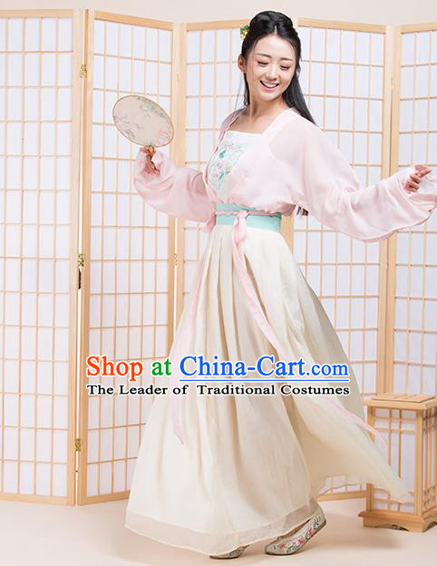 Traditional Chinese Ancient Young Lady Costume Complete Set, Asian China Tang Dynasty Princess Embroidered Clothing for Women