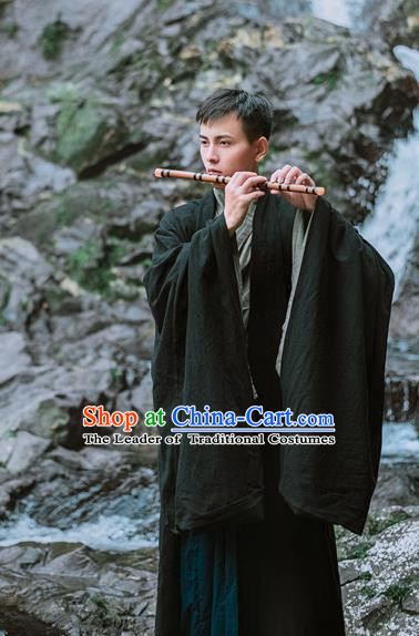 Traditional Chinese Ancient Costume Black Cloak, Asian China Ming Dynasty Swordsman Wide Sleeve Clothing for Men