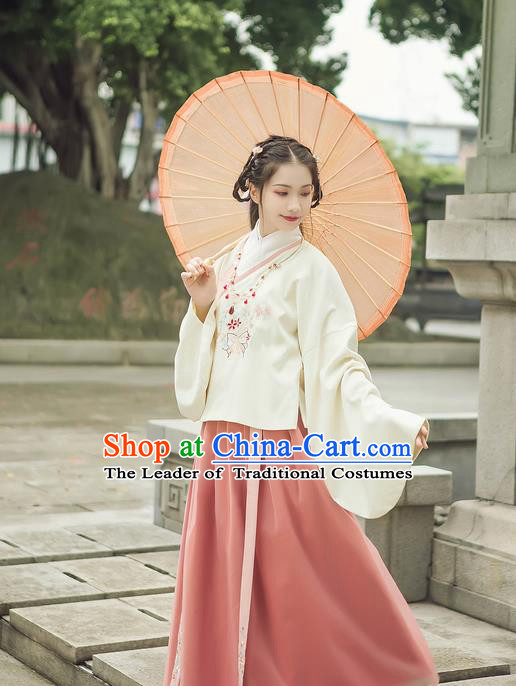 Traditional Chinese Ancient Hanfu Princess Costume Complete Set, Asian China Ming Dynasty Palace Lady Embroidered Clothing for Women