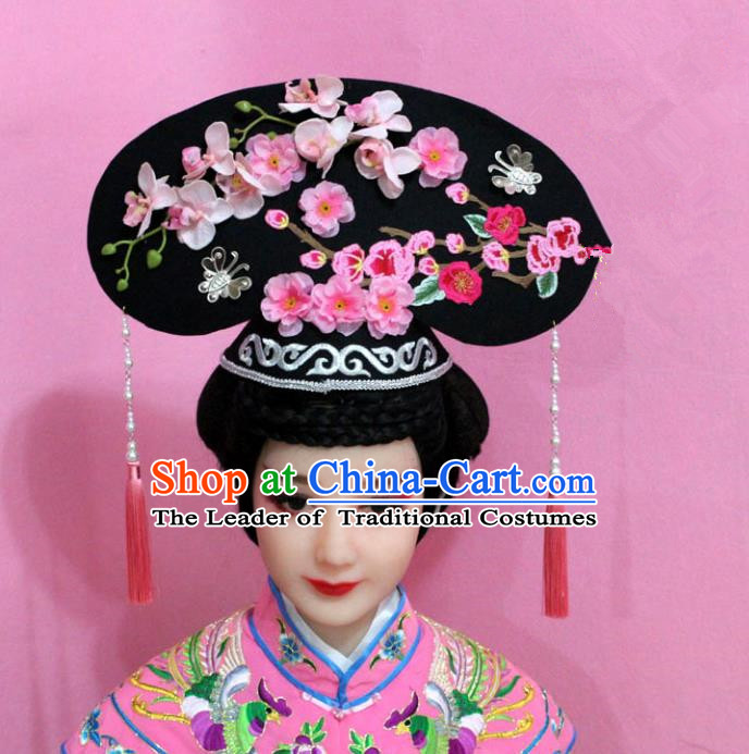 Traditional Handmade Chinese Hair Accessories Qing Dynasty Palace Lady Pink Plum Blossom Headwear, Manchu Imperial Concubine Hairpins for Women