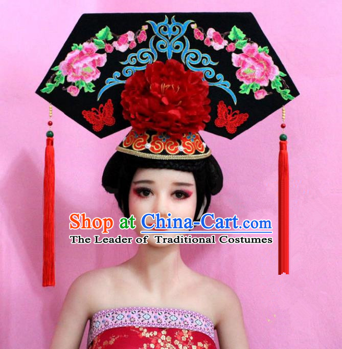 Traditional Handmade Chinese Hair Accessories Qing Dynasty Empress Banners Peony Tassel Headwear, Manchu Imperial Concubine Hairpins for Women