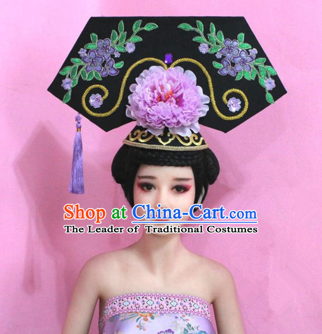 Traditional Handmade Chinese Hair Accessories Qing Dynasty Empress Banners Purple Peony Headwear, Manchu Imperial Concubine Hairpins for Women