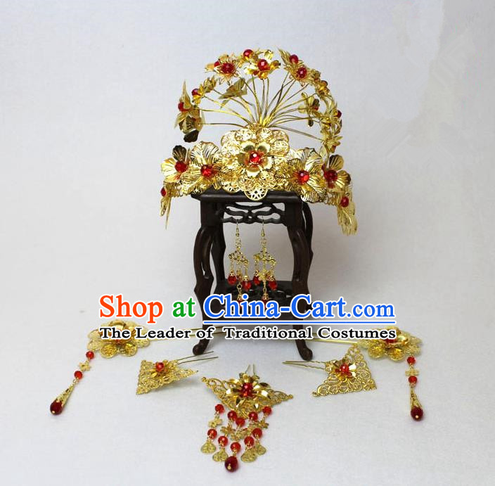 Traditional Handmade Chinese Hair Accessories Palace Lady Phoenix Coronet, China Han Dynasty Princess Headwear for Women