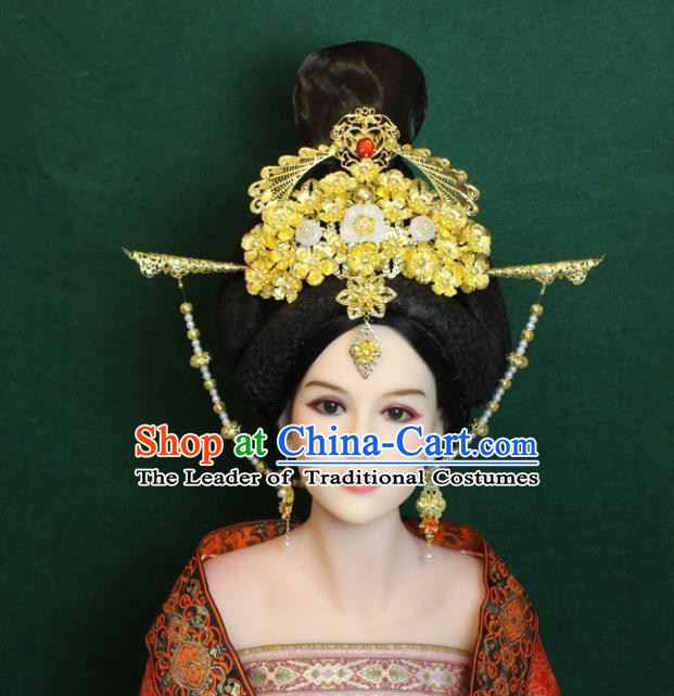 Traditional Handmade Chinese Hair Accessories Palace Lady Phoenix Coronet, China Tang Dynasty Princess Hairpins Headwear for Women