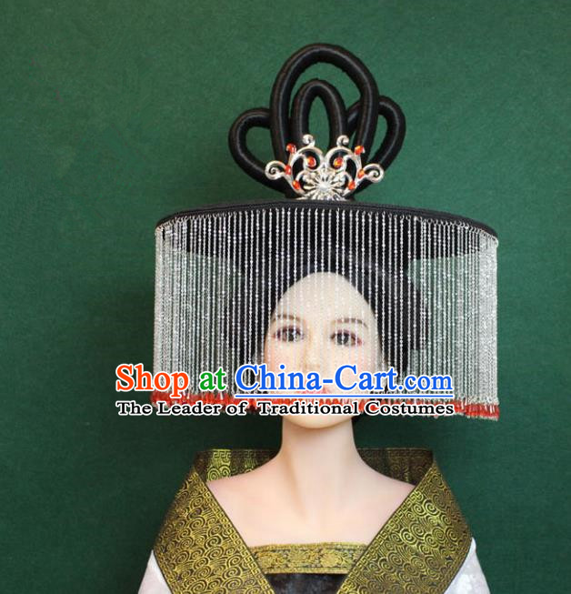 Traditional Handmade Chinese Hair Accessories Palace Lady Tassel Hat, China Tang Dynasty Princess Headwear for Women