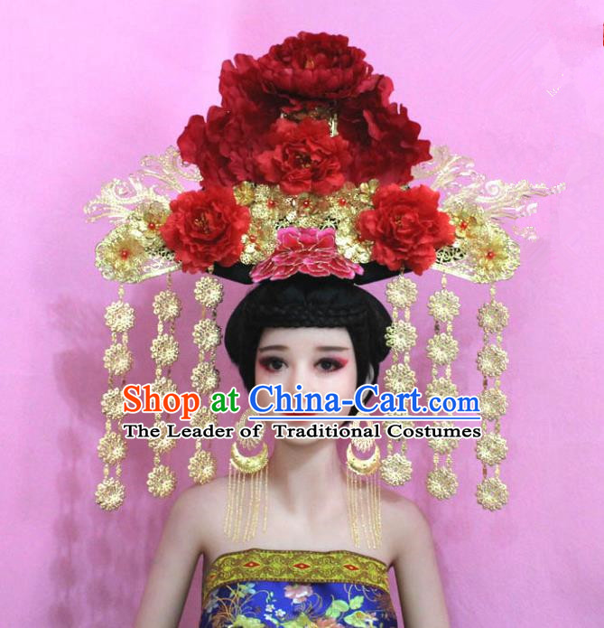 Traditional Handmade Chinese Hair Accessories Qing Dynasty Empress Banners Luxury Peony Headwear, Manchu Imperial Concubine Hairpins for Women