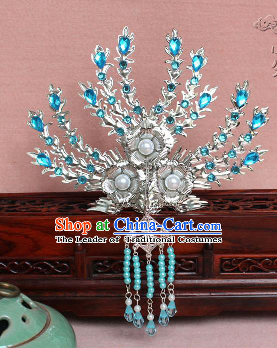 Traditional Handmade Chinese Hair Accessories Princess Blue Crystal Phoenix Hairpins, Tang Dynasty Palace Lady Tassel Frontlet Step Shake for Women