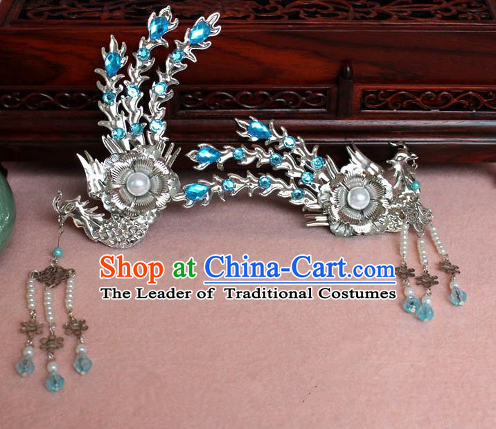 Traditional Handmade Chinese Hair Accessories Princess Blue Phoenix Hairpins, Tang Dynasty Palace Lady Tassel Step Shake for Women