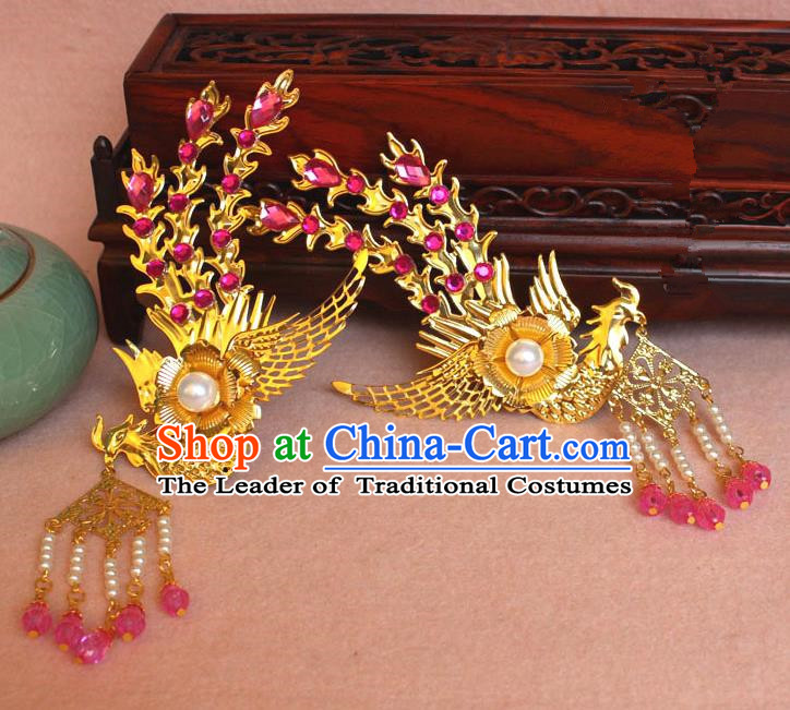 Traditional Handmade Chinese Hair Accessories Princess Golden Phoenix Hairpins, Ming Dynasty Palace Lady Pink Tassel Step Shake Frontlet for Women