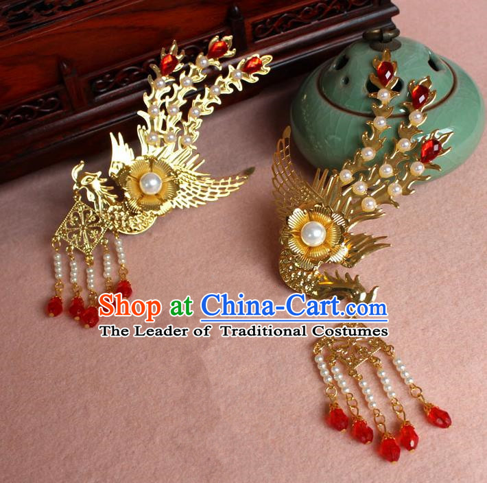 Traditional Handmade Chinese Hair Accessories Princess Golden Phoenix Hairpins, Ming Dynasty Palace Lady Red Tassel Step Shake Frontlet for Women