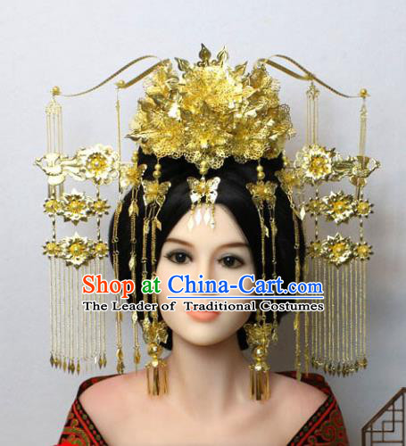 Traditional Handmade Chinese Hair Accessories Tang Dynasty Empress Golden Phoenix Coronet Complete Set, China Palace Lady Hairpins Tassel Step Shake for Women