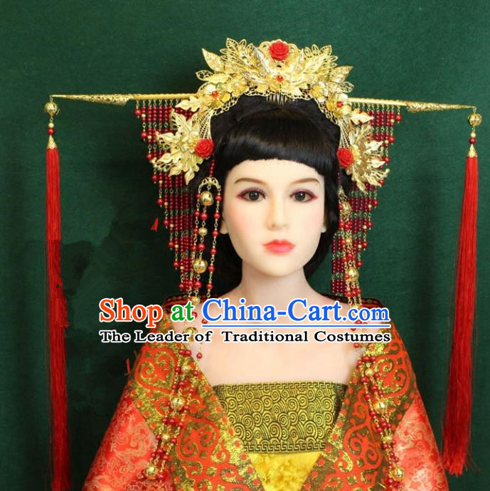 Traditional Handmade Chinese Hair Accessories Wedding Phoenix Coronet, Tang Dynasty Princess Hairpins Wedding Headwear for Women
