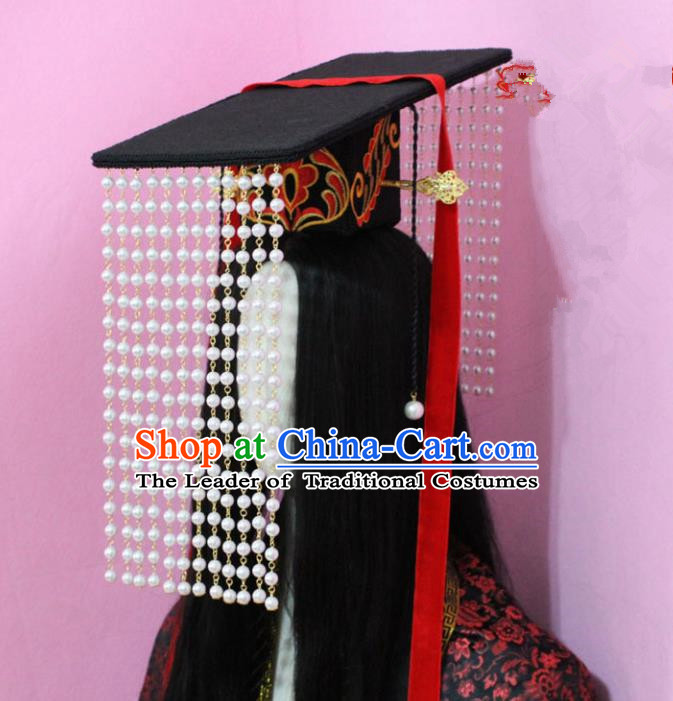 Traditional Handmade Chinese Hair Accessories Emperor Headwear, China Qin Dynasty Majesty Tassel Hats for Men