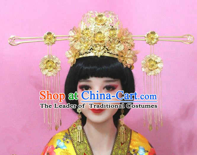 Traditional Handmade Chinese Hair Accessories Empress Golden Phoenix Coronet Complete Set, China Imperial Queen Tassel Step Shake Hairpins for Women