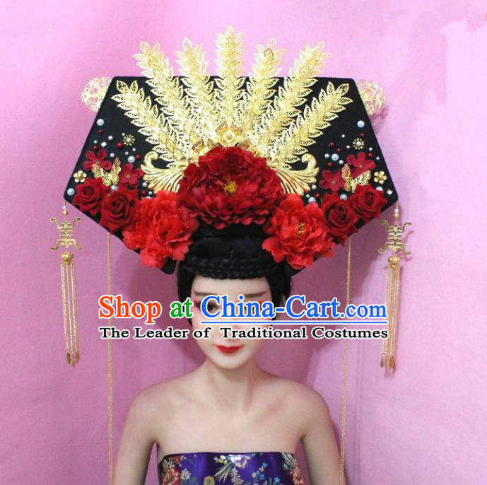 Traditional Handmade Chinese Hair Accessories Qing Dynasty Empress Great Wing Banners Red Peony Headwear, Manchu Imperial Concubine Hairpins for Women