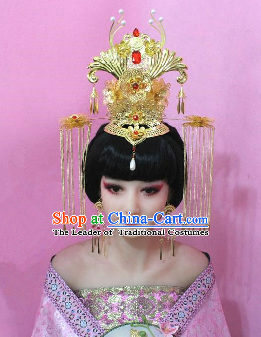 Traditional Handmade Chinese Hair Accessories Tang Dynasty Empress Phoenix Coronet Tassel Step Shake Hairpins for Women