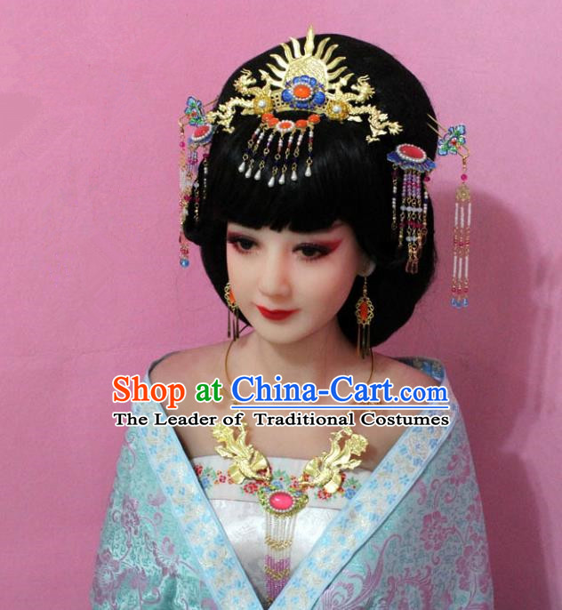 Traditional Handmade Chinese Hair Accessories Empress Cloisonne Phoenix Step Shake, China Tang Dynasty Hairpins Complete Set for Women