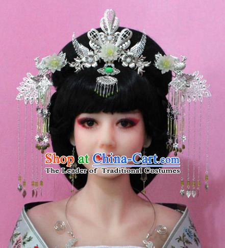 Traditional Handmade Chinese Hair Accessories Empress Lotus Phoenix Coronet, China Tang Dynasty Princess Hairpins Complete Set for Women